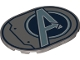 Part No: 65474pb05  Name: Tile, Round 6 x 8 Oval with Avengers Logo Pattern