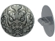 Part No: 75902pb16  Name: Minifigure, Shield Round with Rounded Front with Black and Silver Ninjago Dragon Head Pattern