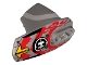 Part No: 90639pb024  Name: Hero Factory Armor with Ball Joint Socket - Size 5 with Yellow Arrows, Red Flames, and Hero Factory Logo Pattern