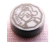 Part No: 98138pb005  Name: Tile, Round 1 x 1 with Female Minifigure Silhouette Head and Shoulders and '1916' in Decagon Coin Pattern