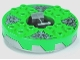 Part No: bb0549c05pb01  Name: Turntable 6 x 6 Round Base Serrated with Bright Green Top and Dark Bluish Gray Stone Heads Pattern (Ninjago Spinner)