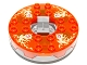 Part No: bb0549c13pb01  Name: Turntable 6 x 6 Round Base Serrated with Trans-Neon Orange Top and Fire Energy Pattern (Ninjago Spinner)