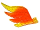 Part No: 15370pb01  Name: Hero Factory Wing, Feathered with Axle Hole and Marbled Trans-Yellow Pattern