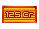 Part No: 3069bpb0766  Name: Tile 1 x 2 with Groove with '125 Cr' and Orange Stripes on Yellow Background Pattern (Sticker) - Set 71708