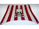 Part No: sailbb42  Name: Cloth Sail 28 x 18 Bottom with Red Stripes, Skull and Crossbones Pattern