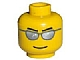 invID: 133479744 P-No: 3626bpb0193  Name: Minifigure, Head Glasses with Silver Sunglasses, Black Eyebrows Pointed, Thin Grin Pattern - Blocked Open Stud