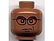 invID: 159138579 P-No: 3626cpb0212  Name: Minifigure, Head Glasses with Orange Sunglasses and Smirk Pattern - Hollow Stud